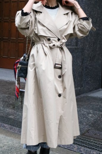 <img class='new_mark_img1' src='https://img.shop-pro.jp/img/new/icons57.gif' style='border:none;display:inline;margin:0px;padding:0px;width:auto;' />back button design long trench coat (belt set) / beige