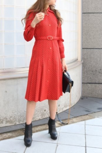 【vintage】cut away collar vermilion button flare dress (belt set) / reddish color