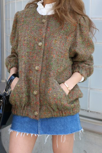 【vintage】retro gold button multi color no collar jacket