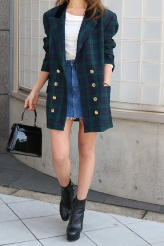 【vintage】double gold button check pattern tailored jacket