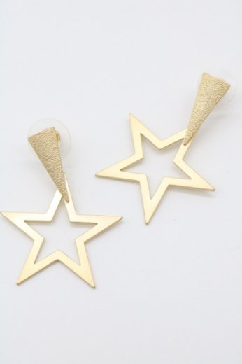 gold star pierced earrings
