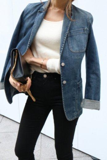 【vintage】FENDI / logo button tailored denim jacket