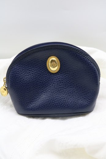 【vintage】Christian Dior / gold logo  embossed leather pouch / navy