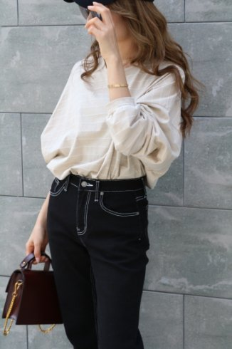 crew neck wide sleeves stripe tops / beige