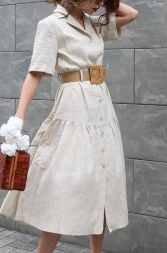 <img class='new_mark_img1' src='https://img.shop-pro.jp/img/new/icons20.gif' style='border:none;display:inline;margin:0px;padding:0px;width:auto;' />open collar linen flare dress (belt set) / beige