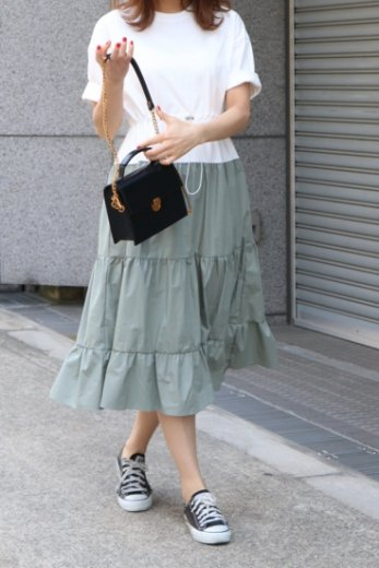 <img class='new_mark_img1' src='https://img.shop-pro.jp/img/new/icons20.gif' style='border:none;display:inline;margin:0px;padding:0px;width:auto;' />tee shirt  docking flare dress / mint green