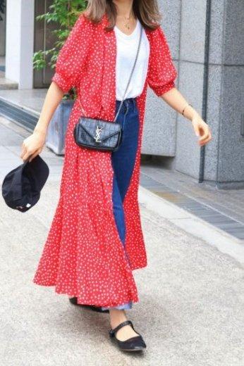 dot pattern wrap dress (camisole set)/ red