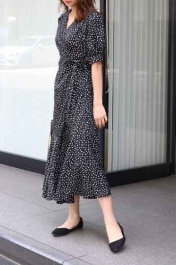 <img class='new_mark_img1' src='https://img.shop-pro.jp/img/new/icons20.gif' style='border:none;display:inline;margin:0px;padding:0px;width:auto;' />dot pattern wrap dress (camisole set) / black