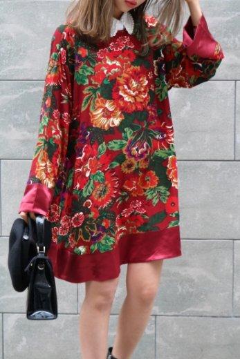 【vintage】KENZO / boat neck flower pattern sack dress