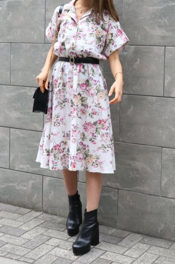 【vintage】open collar front flower pattern flare dress