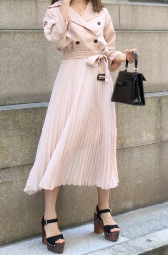<img class='new_mark_img1' src='https://img.shop-pro.jp/img/new/icons57.gif' style='border:none;display:inline;margin:0px;padding:0px;width:auto;' />trench pleats dress (belt set) / pink