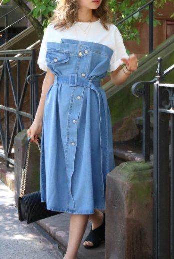 T shirt docking denim dress (belt set)