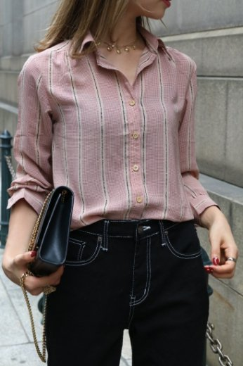 【vintage】 front button dot pattern blouse
