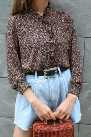 【vintage】 frill collar black piping rose pattern chiffon blouse