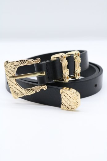vintage like gold buckle leather belt