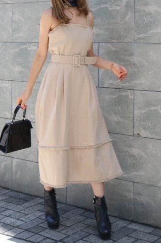 fringe tiered cotton camisole dress (belt set) / beige
