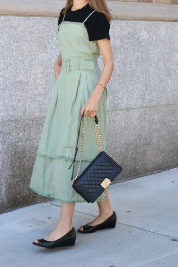 fringe tiered cotton camisole dress (belt set) / green
