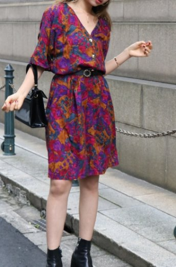 【vintage】 90's gold button flower pattern rompers