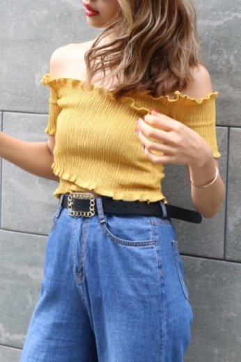 off shoulder knit tops / yellow