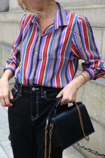 【vintage】multi color stripe pattern blouse