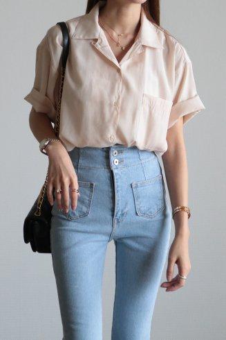 open collar satin blouse / beige