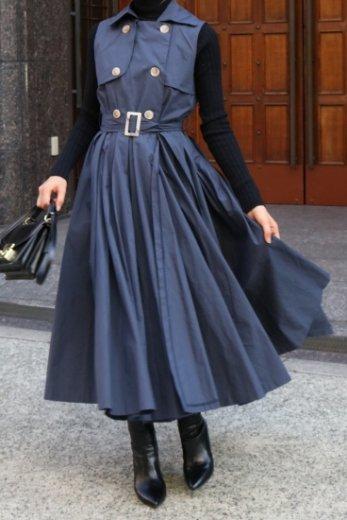napoleon collar sleeveless wrap flare dress (belt set) / navy