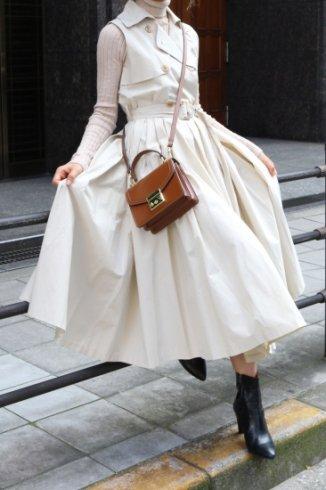 napoleon collar sleeveless wrap flare dress (belt set) / beige