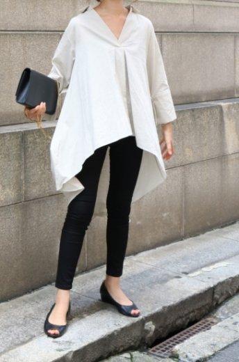 asymmetry skipper cotton tops / beige