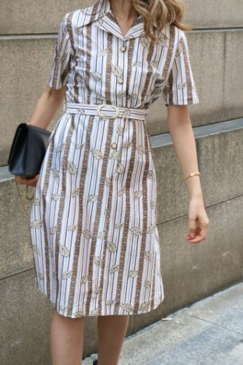 【vintage】80's open collar retro flower pattern flare dress (belt set)
