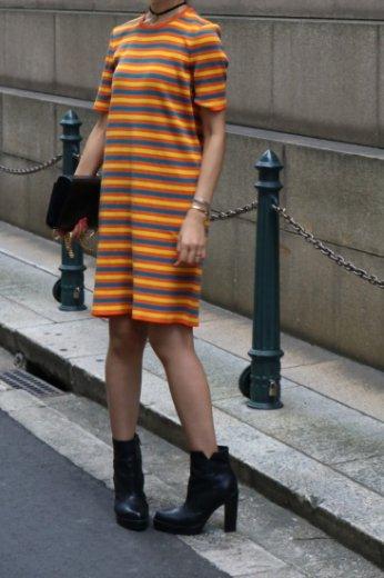 【vintage】Yevs Saint Laurent / round neck multi color stripe pattern knit dress