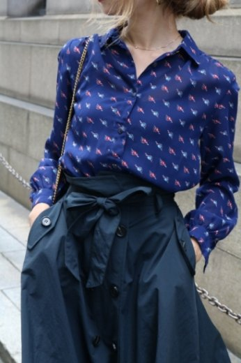 【vintage】patterned all over see-through blouse