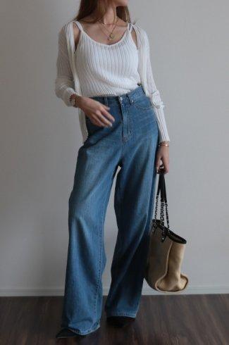 rib knit cardigan & camisole ensemble / white