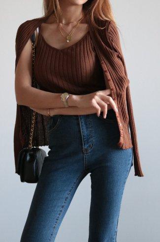 rib knit cardigan & camisole ensemble / brown