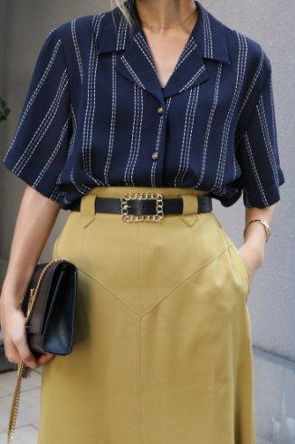 【vintage】open collar stripe pattern blouse / navy