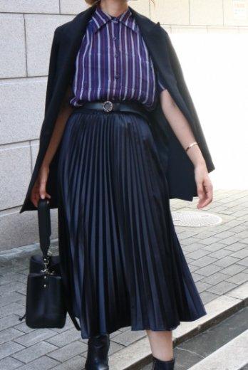 【vintage】belt design stripe pattern see-through blouse
