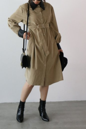 <img class='new_mark_img1' src='https://img.shop-pro.jp/img/new/icons20.gif' style='border:none;display:inline;margin:0px;padding:0px;width:auto;' />fake leather collar corduroy long dress / beige
