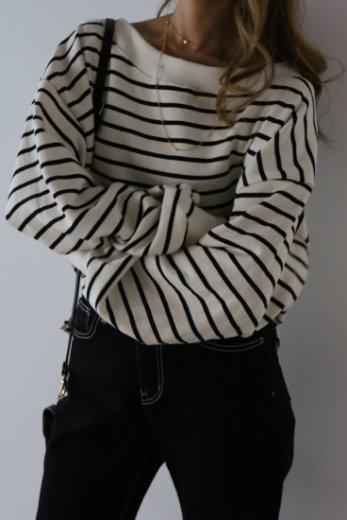 2way off shoulder stripe pattern sweat tops / white