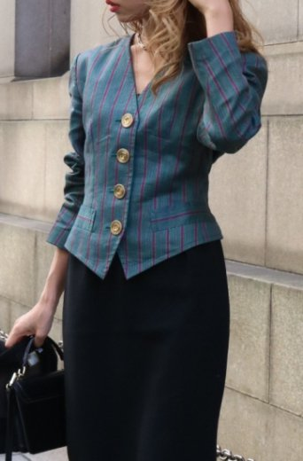 【vintage】Yves Saint Laurent / front gold button stripe pattern short jacket