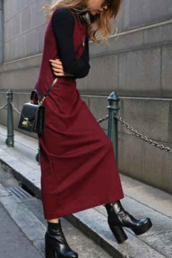 【vintage】Yves Saint Laurent / round neck sleeveless wool long dress (petti coat set) / bordeaux
