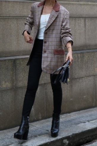 【vintage】notched lapel collar check pattern wool jacket