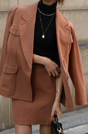 【vintage】KENZO / bellied lapel jacket & narrow skirt set up / brown