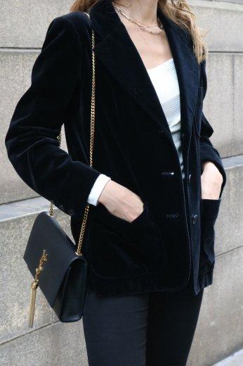 【vintage】GIVENCHY / notched lapel collar velours jacket / black