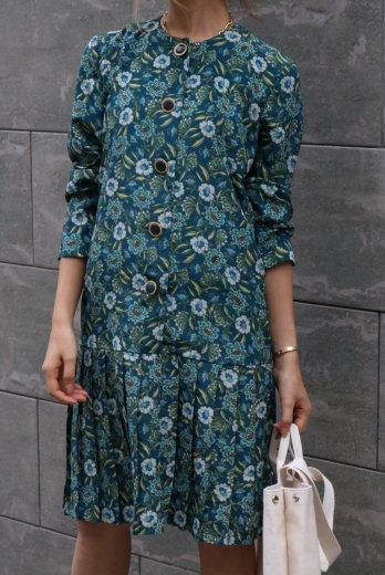 【vintage】no collar gold retro button flower pattern dress