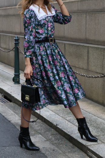 【vintage】falling collar pearl button flower pattern flare dress