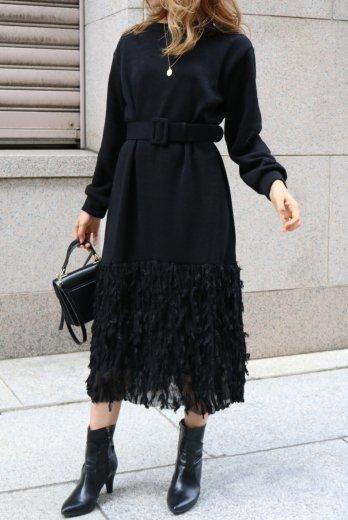 original fringe skirt docking knit dress (belt set) / black