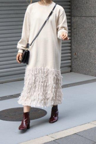 original fringe skirt docking knit dress (belt set) / ivory