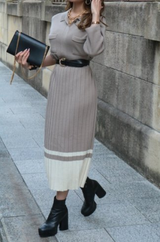 cut away collar long knit pleats dress / beige