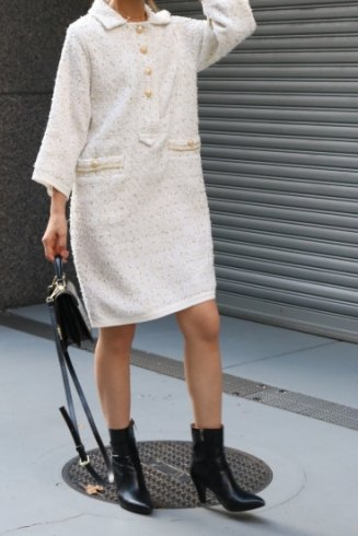 front gold button tweed dress / white