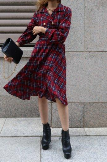 open collar tartan check pattern flare dress  OG / red