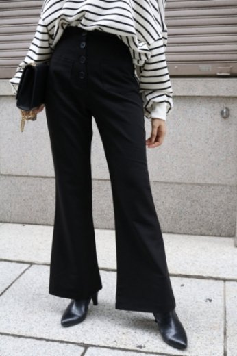 wide stretch flare pants / black